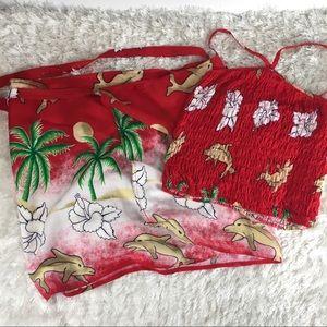 Dresses & Skirts - Red Tropical Hawaiian Wrap Skirt Halter Top Set